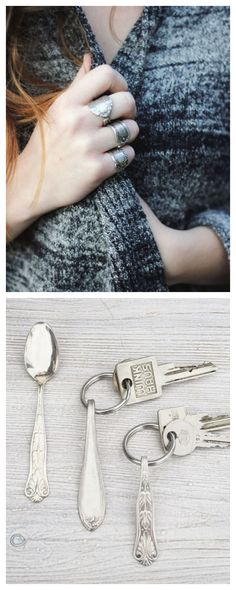 Upcycle Old Silverware as Pretty Jewelry and Keychains #DIY #vintage