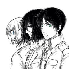 Shiganshina trio, Armjn Mikasa and Eren