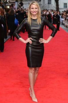 Cameron Diaz in tight black leather mini dress