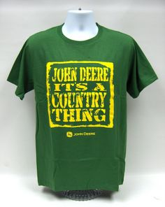 John Deere it`s a Country Thing-Mens Green S/S T-Shirt Size XL