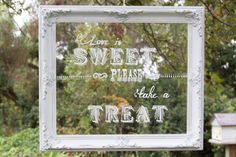Candy Bar Sign. Vintage Distressed White Painted Frame and Glass. Love is Sweet. Wedding.. $80.00, via Etsy.