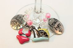 Beach Goddess Wine Glass Charms-  Set of 4 - Wine Lover Gift-Host Gift-Housewarming Gift-Birthday Gift-Friend Gift-Beach Party-Friends Party