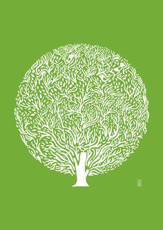 Woodcut?? judy_kaufmann_Green-Tree - I like the contrast between the organic lines within the geometric shape of stark circle