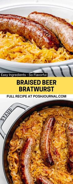Cooking beer bratwurst in the oven is another fun way to prepare the classic German sausage other than on the grill. This beer bratwurst in the oven is the perfect meal to make for Octoberfest, Superbowl game day, or any weeknight dinner. #bratwurst #recipe How To Cook Bratwurst, Beer Bratwurst, Bratwurst Recipes, Pork Recipes, Easy Recipes, Dinner Dishes, Food Dishes, Main Dishes, Pasta Dishes