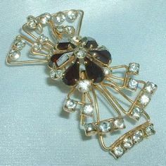 Vintage Gold Filled Rhinestone Brooch or Pendant by BorrowedTimes