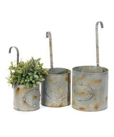 Tin Hanging Planter Set