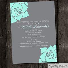 Bridal Shower Invitation, Corner Rose, Flower, Elegant, Formal, Teal, Tiffany Blue, Grey Customize Colors 5X7  (Digital DIY Printable) on Etsy, $16.00