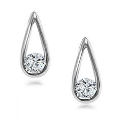 Drop Shape Diamond Stud Earrings