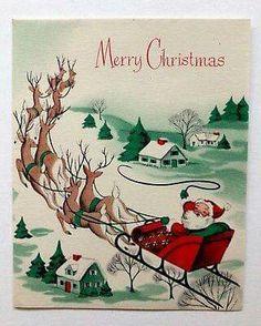 Santa Takes Flight. Merry Christmas - Santa's sleigh - reindeer - mid century modern Santa Takes Flight. Christmas Card Images, Merry Christmas, Vintage Christmas Images, Christmas Graphics, Christmas Scenes, Vintage Holiday, Christmas Pictures, Christmas Greetings, 1950s Christmas
