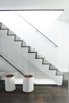 Shift Interiors is a full-service interior design studio founded by Jamie Deck and based in Vancouver, B. Glass Stairs, Monochromatic Color Scheme, Interior Design Studio, Entry Doors, Glass Panels, Service Design, Home Goods, Home Improvement, Wall