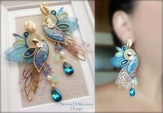 Soutache Earrings by Serena Di Mercione - Wings - swarovski elements
