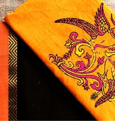 handwoven cotton saree teamed with hand embroidered mul blouse from Vasundhara Cottons