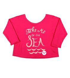 Roxy Girls' Take Me To The Sea Crop Tee (7-16) #swimoutlet