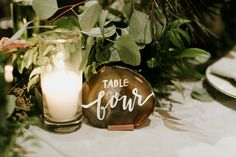 Shailee & Kramer's modern romantic wedding • Photography by Jenna Bechtholt • calligraphy • modern calligraphy • table number • agate • white calligraphy