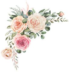 Watercolor floral frame composition with roses and eucalyptus - Comprar esta ilustração do stock e explorar ilustrações semelhantes no Adobe Stock   Adobe Stock