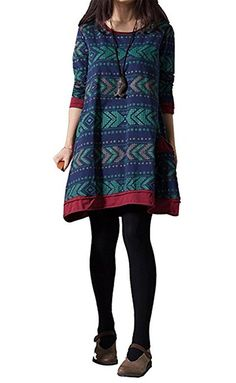 YJWAN Fashion Womens Nordic Patterned Ethnic Style Long Sleeve Oversized Shirt Dress >>> Check this awesome image  : Plus size dresses