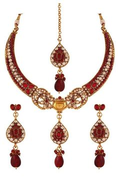 Description: Shop for maroon austrian diamond gold plated necklace set online at Variation Fashion. Product Type: Necklace Sets Color: Maroon Stones: Austrian Diamond Plating: Gold Plated Dimensions: Necklace Length: 8 Inches, Necklace Width: 3 Inches, Necklace Set Weight: 258 Grams Approx. Occasion: Wedding & Engagement Jewellery Care: Keep in airtight box