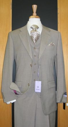 31c9e187c8af SKU#ER489 Two Button Three Piece Beige Wool and Cashmere Flat Front three  piece suit