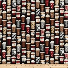 Timeless Treasures Coffee Travel Mugs Black from @fabricdotcom  From Timeless Treasures, this cotton print fabric is perfect for quilting, apparel and home decor accents.  Colors include black, white, grey, red, tan, cream and brown.