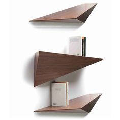 Tonon Prisma Shelf - Right - Black Walnut (70.450 RUB) ❤ liked on Polyvore featuring home, furniture, storage & shelves, bookcases, white, book-shelves, white book shelves, wall shelf, shelf bookcase and white bookshelves