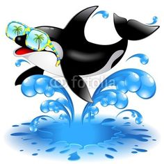 #Happy #Killer #Whale #Cartoon with #Sunglasses!!! #Vector #Graphic #Design SOLD at #Fotolia!!! :)))))