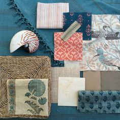artsandhomes.com, fabric inspiration board, interior design, home decor, blue and orange, katie leede, peter dunham, jasper, carolina irving, patterns, stripes, bohemian