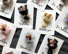 Personalized Dried Flower Cards (Mini bouquet - Calligraphy) These personalized hand-made dried flow Dried Flower Bouquet, Dried Flowers, Wax Tablet, Scented Sachets, Scented Wax, How To Preserve Flowers, Handmade Ornaments, Flower Cards, Little Gifts
