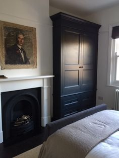 Edwardian house renovation, built-in wardrobe, Farrow and Ball Railings, firepla. - Before After DIY Alcove Wardrobe, Bedroom Built In Wardrobe, Bedroom Built Ins, Painted Wardrobe, Bedroom Storage, Bedroom Alcove, Wooden Wardrobe, Edwardian Haus, Farrow And Ball Bedroom
