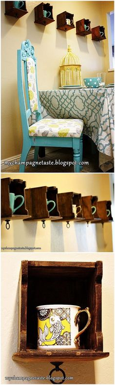Check out the tutorial for this easy #DIY wooden mug holder rack for apartments #woodworking #homedecor @istandarddesign