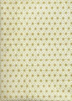 Papier japonais - Motif 'Asanoha' doré sur fond blanc