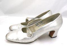 Vintage Silver Metallic Mary Jane Heels 1969 | eBay