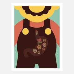 Geeky minimalist prints - Inspired by classic Nintendo characters, this retro, minimalist print depicts Mario with a stomach full of mushrooms, pills, and strange plants. No wonder Mario's world seems so super.