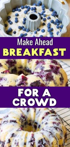 7 Easy Brunch Recipes For a Crowd - Breakfast Bundt Cake Recipes For A Stress-Free Brunch Party - Clever DIY Ideas - Make Ahead Brunch Casserole Recipes Make Ahead Brunch Casserole Recipes Make Ahead Brunch Casserole - # Breakfast And Brunch, Breakfast Bundt Cake, Brunch Menu, Brunch Cake, Make Ahead Breakfast Casseroles, Good Breakfast Ideas, Brunch Dishes, Breakfast Dessert, Breakfast Dishes
