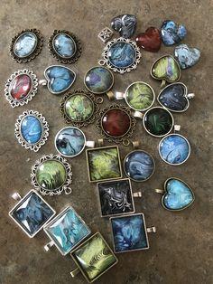Acrylic pour skin necklace pendants.
