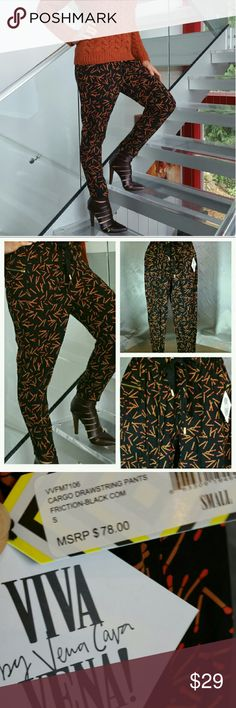 LAST 1VENA CAVA track pants / joggers Brand new with tags   Get comfy in these fabulous matchstick print designer track pants by Vena Cava!! Look chic yet playful in these track pants. Relaxed fit through hips, thighs and lightweight material provides lasting comfort. Slim tapered leg.   Gold zippers details on pockets & on sides of ankle area. Elastic waist with drawstrings closures 100% Rayon Size small Viva Vena by Vena Cava   Vacation cruise getaway track pants 4th of July fireworks…