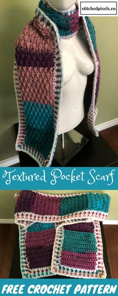 This pattern is worked in my new favorite yarn - Caron Chunky Cakes! The new colors are so bright and cheerful. The best part is the super deep pockets! I can toss my car keys and cell phone is my scarf pockets and not have to worry about them.