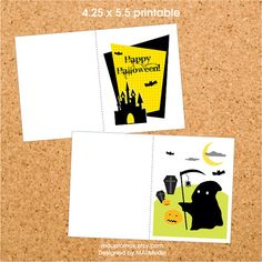 DIY Printable Halloween Greeting Cards  425 x 55 inch by MAUpromos, $5.00