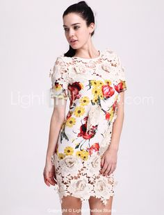 TS Heavy Embroidered Printed Silk Dress - USD $ 30.00