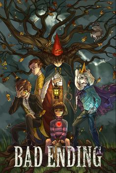 Bad End Friends - Evil Morty (Rick and Morty), Beast Wirt (Over the Garden Wall), Ice Finn (Adventure Time), Chara (Undertail) and Bipper (Gravity Falls)—- honestly love the bad end to Friends Fan, Desenhos Gravity Falls, Grabity Falls, Bipper, Rick Y, Over The Garden Wall, Cartoon Crossovers, Fandom Crossover, Billdip