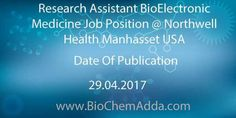 Research Assistant BioElectronic Medicine Job Position @ Northwell Health Manhasset USA