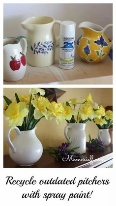 My thrift store pitcher finds transformed into updated farmhouse-style white pitchers. Some white spray paint totally updated and repurposed these pitchers. Tutorial of my spray painting technique included. Decor Crafts, Diy Home Decor, Diy Crafts, Paper Crafts, Room Decor, Thrift Store Crafts, Crafts To Sell, Thrift Stores, Make Your Own