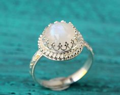 Moonstone ring sterling silver floral band by SilverStamped