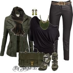 Olive & Black, created by stephaniebeckette on Polyvore