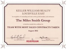 August 2012 - Team With Most Sales Contracts Taken in August at Keller Williams Realty Louisville East