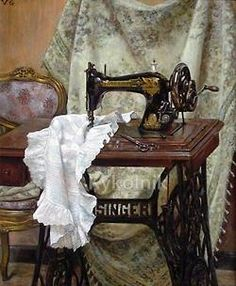 Ana Rosa - Such a beautiful vingette of an antiqe sewing machine and lacy, white garment.
