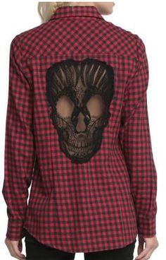 0def985a210 Skull Pattern Plaid Shirt For Women Stylish Collar Long Sleeve