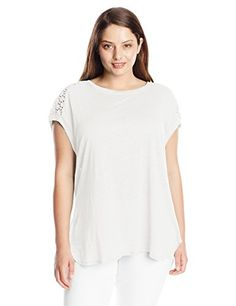 069f27aba8db6 Calvin Klein Womens PlusSize Slub Linen Top with Eyelet Soft White 1X      Check out this great product.Note It is affiliate link to Amazon.