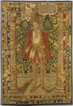 Woven by Seger Bombeck (German, active 1545–1552). Augustus I of Saxony (1526–1586), 1550. The Metropolitan Museum of Art, New York. Bequest of Susan Dwight Bliss, 1966 (67.55.97) | This tapestry panel, made of wool, silk, and silver threads, depicts Augustus I of Saxony standing between marble columns and in front of a luxurious velvet wallcovering.  During this period in history, a tapestry portrait would have been more valuable than a painted portait. #tapestrytuesday