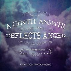 A gentle answer deflects anger... http://www.klove.com/ministry/encouraging-word/
