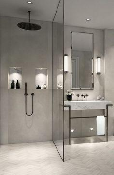 Modern, minimalist bathroom with walk-in shower .- Modernes, minimalistisches Badezimmer mit ebenerdiger Dusche – just luxux Modern, minimalist bathroom with walk-in shower - Modern Bathroom Design, Bathroom Interior Design, Bath Design, Spa Design, Modern Bathrooms, Bathroom Designs, Minimalist Bathroom Design, Modern Bathroom Lighting, Minimal Bathroom